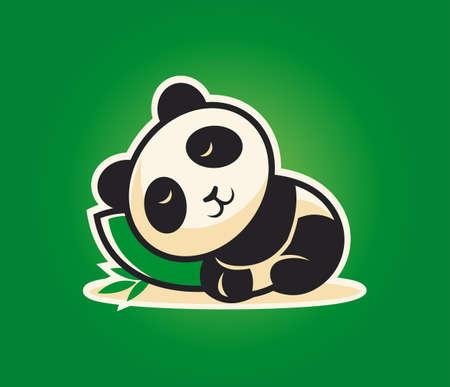 Personaje de dibujos animados lindo panda durmiendo en una almohada de bambú