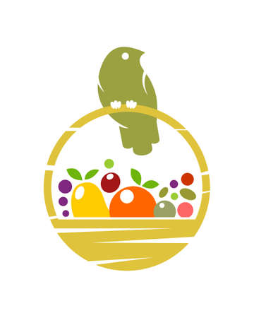 Stylized icon of bird sitting on basket with harvest of fruit and vegetables  イラスト・ベクター素材