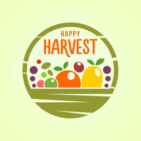 Stylized cut out icon of basket with a harvest of fruit and vegetables Illustration