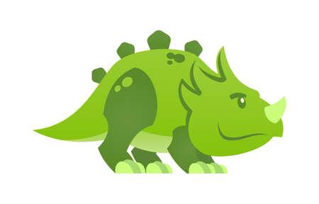 Cute little green dinosaur vector cartoon character mascot