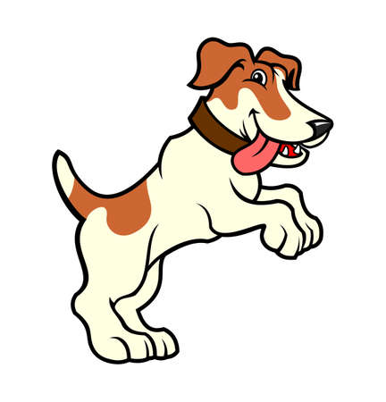 Cartoon jack russell terrier dog character standing on hind legs