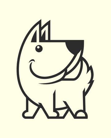 Sagoma tagliata cane carino. Icona di vettore della mascotte del personaggio del cucciolo. Vettoriali