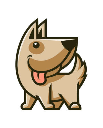 Cute dog character mascot. Smiling puppy vector icon.