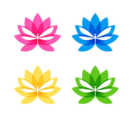 Dragonfly silhouette cut out in flower - elegant icons in various colors