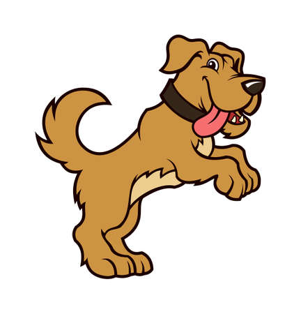 Friendly cartoon dog character standing on hind legs