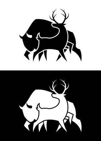 Deer and Buffalo Bull cut out silhouette black and white vector icon