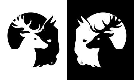 Deer and buffalo black and white cut out silhouette- wild animals icon Stock Illustratie