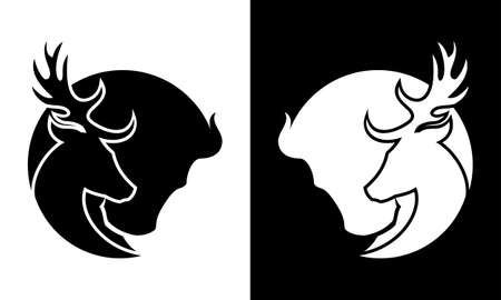 Deer and buffalo black and white cut out silhouette- wild animals icon Illustration