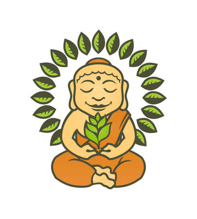 Calm Buddha cartoon character in lotus pose with a green sprout in his hands and circle of leaves around him Stock Illustratie