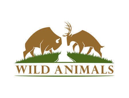 Vector silhouette of buffalo bull and horned deer silhouette in the meadow