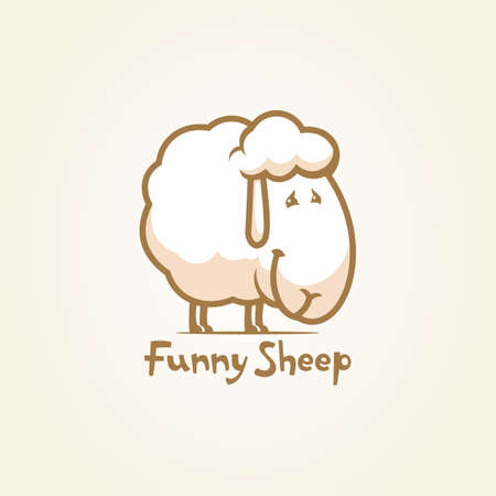Outline vector icon of funny woolly sheep cartoon character mascot