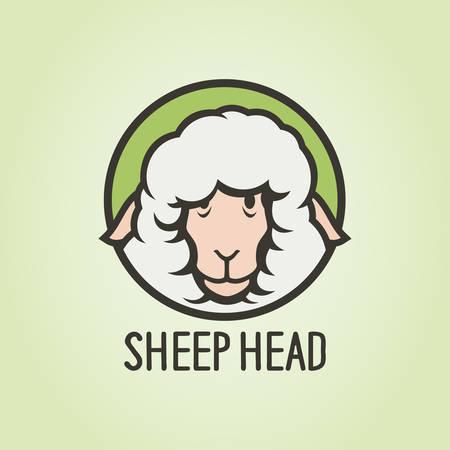 Funny sheep head cartoon character - vector round icon
