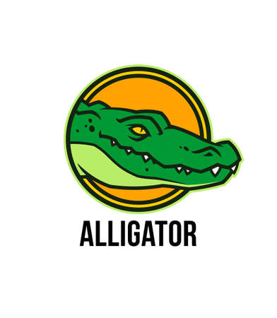 Alligator head in circle. Toothy crocodile character mascot.