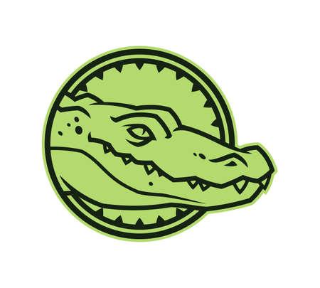 Green alligator head in circle. Toothy crocodile character mascot.