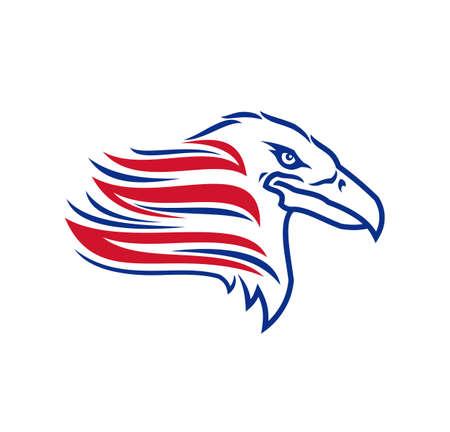 Eagle head vector icon. Stylized eagle silhouette US symbol.