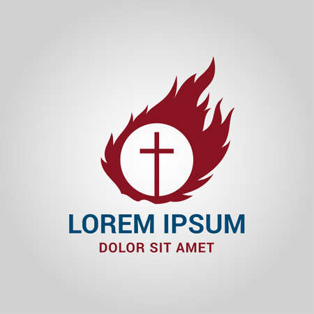 Religious cross in circle with fire around it - church sign vector icon Illustration