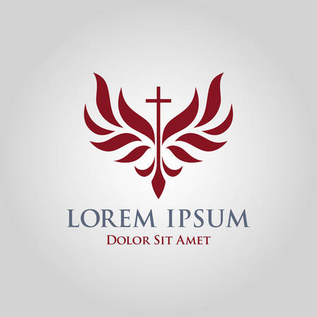 Religious cross with stylized wings around it - church sign vector icon