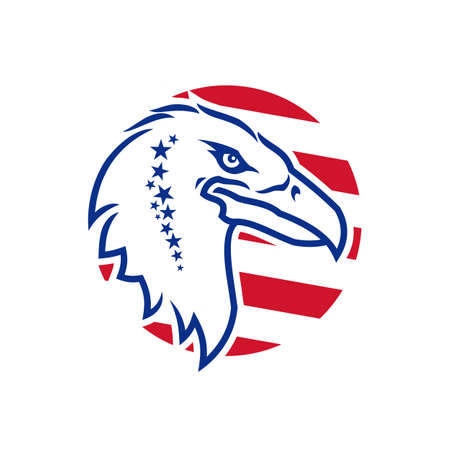 Eagle head outline silhouette with stars and stripes - stylized vector icon