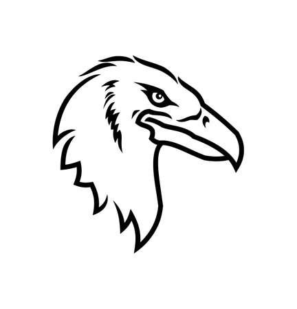Sylwetka zarys głowy orła. Orzeł maskotka widok z boku wektor ikona Ilustracje wektorowe