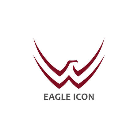 Eagle symbol with stylized spread wings - minimalist vector icon Banque d'images - 116908701