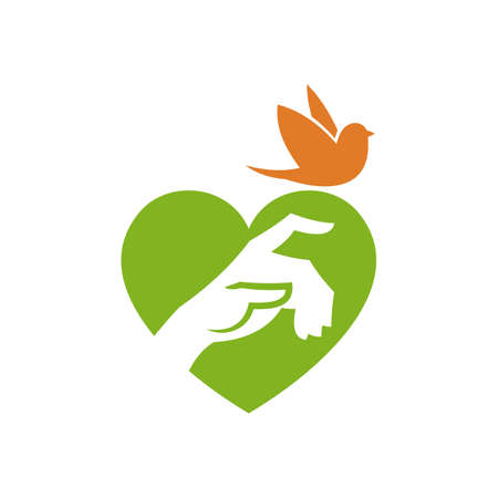 Hand sign on a heart shape background, and a flying bird - stylized vector icon Banque d'images - 116908706