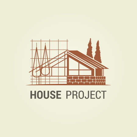 House silhouette with stylized project scheme - abstract icon for architect or construction industry Vetores