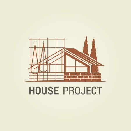 Silueta de casa con esquema de proyecto estilizado - icono abstracto para arquitecto o industria de la construcción Ilustración de vector