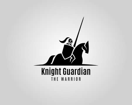 Knight guardian vector silhouette. Medieval Warrior with shield and spear on a horse. Illustration