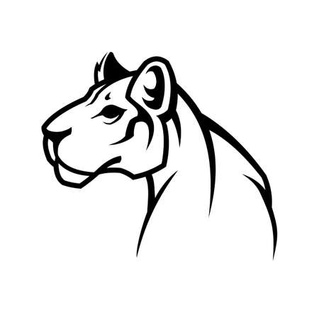 Vector outline silhouette sign of cougar wild cat. Panther , or lioness character mascot. Çizim