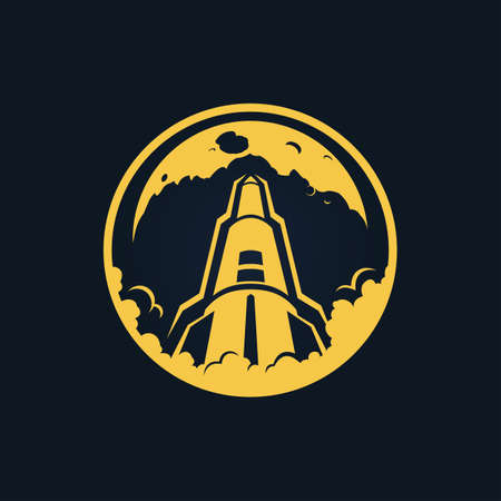 Rocket launch cut out icon. Vector sign of rocket takeoff.