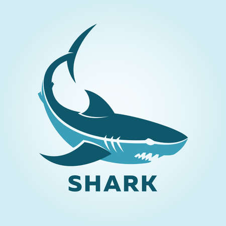 Blue shark character silhouette. Vector icon of shark. Ilustracja