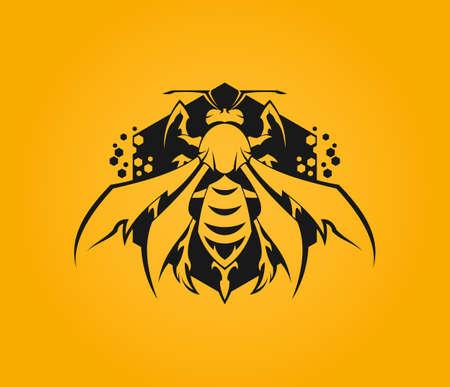Gestileerde bijenpictogram op zeshoekachtergrond met honingraat Vector Illustratie