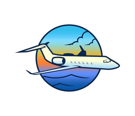 Flying plane in sky under the sea with sunset - round vector icon Ilustracja