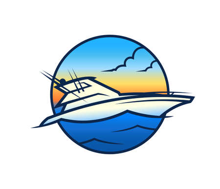 Yacht on background of sea and sunset - tourism and VIP nautical vessel symbol in round icon