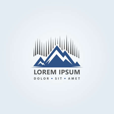 Stylized icon with mountains peaks silhouette and water - abstract  design concept