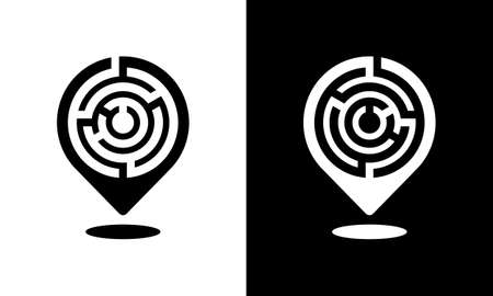 Location maps pin with a labyrinth pattern - black and white vector icon Ilustracja
