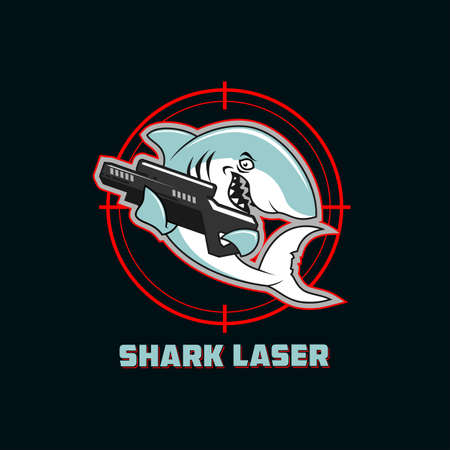 Shark character with laser gun on a dark background with target sign Ilustracja