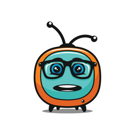 Funny surprised TV character in glasses - vector tv media icon