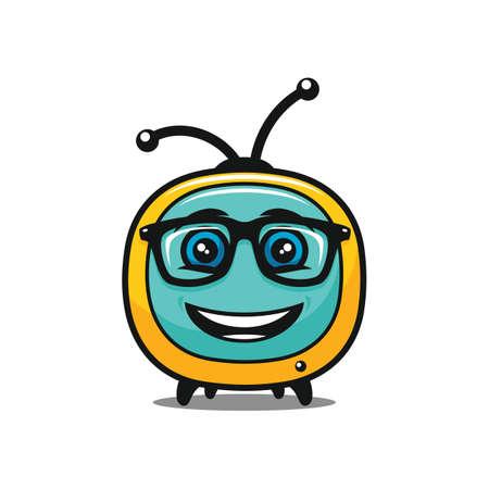Funny smiling TV character in glasses - vector tv media icon Stock Illustratie