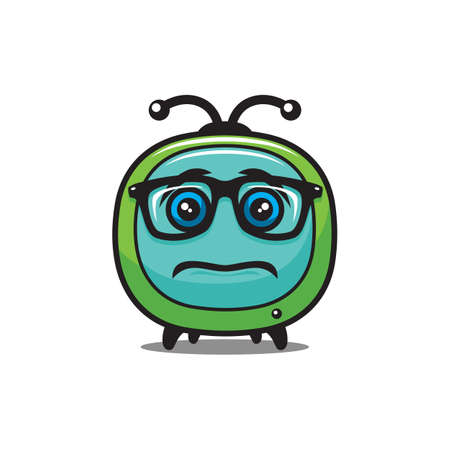 Upset cartoon TV character in glasses - vector tv media icon