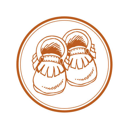 Baby moccasins with fringe in circle - hand drawn style cut out icon Иллюстрация