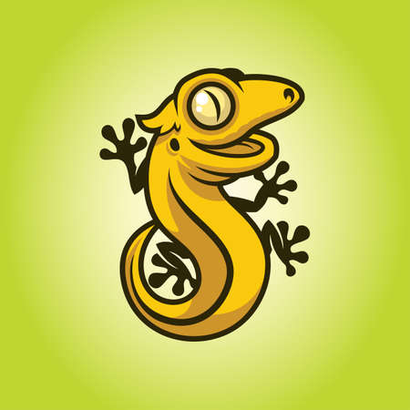 Gecko, lizard, salamander, or chameleon - funny character mascot in cartoon style