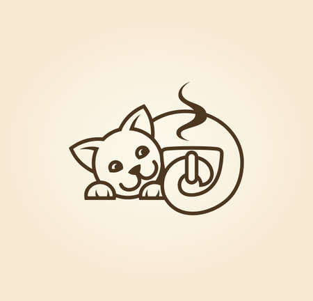 Cute kitten holding a cup of scented coffee in the tail - cut out vector icon Çizim