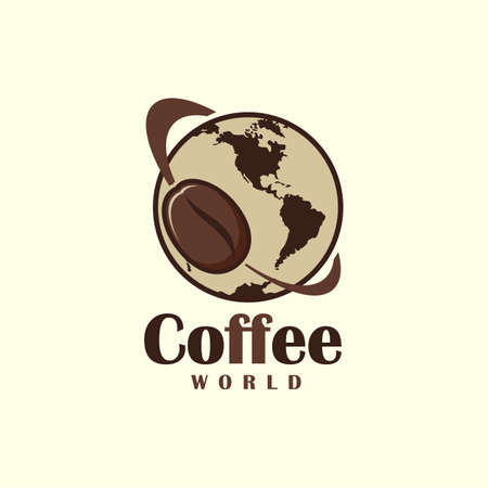 Coffee bean symbol flying around the Earth - stylized coffee theme icon