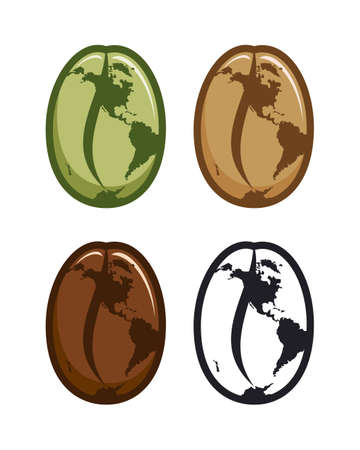Green, raw, roasted, and outline coffee beans icons with stylized World map
