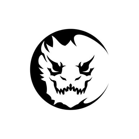 Monster dragon face with danger animal grin - stylized vector icon Çizim
