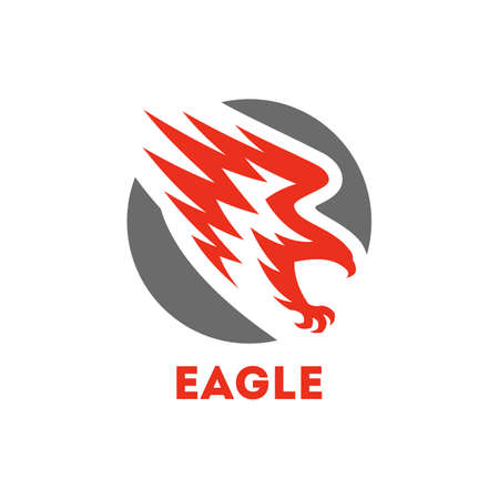 Eagle symbol. Round icon with flying bird of prey Banque d'images - 116908781