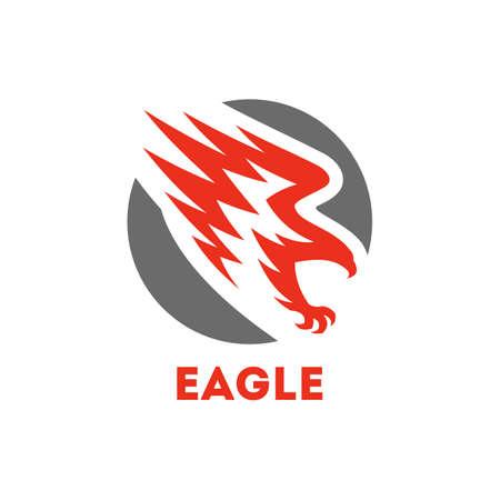 Eagle symbol. Round icon with flying bird of prey Ilustração