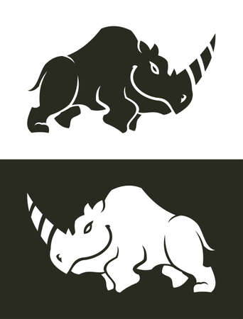 Rhino sign vector icon. Black and white cut out silhouette of smiling rhino. Çizim