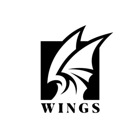 Stylized wings in square negative space - cut out vector icon